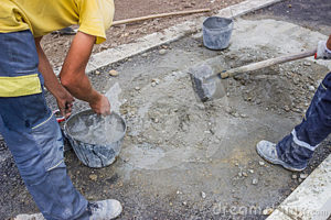 hand mixing of concrete